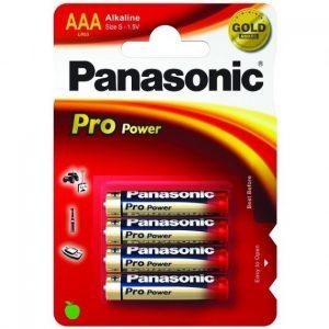 Pilas Alkalinas marca Panasonic Pro Power LR03 AAAEste modelo de pilas Alkalina, es bastante superior al modelo normal de Bronce, por eso está pensado para aparatos que requieran mayor consumo. Precio para 12 blister de 4 pilas c/uno.